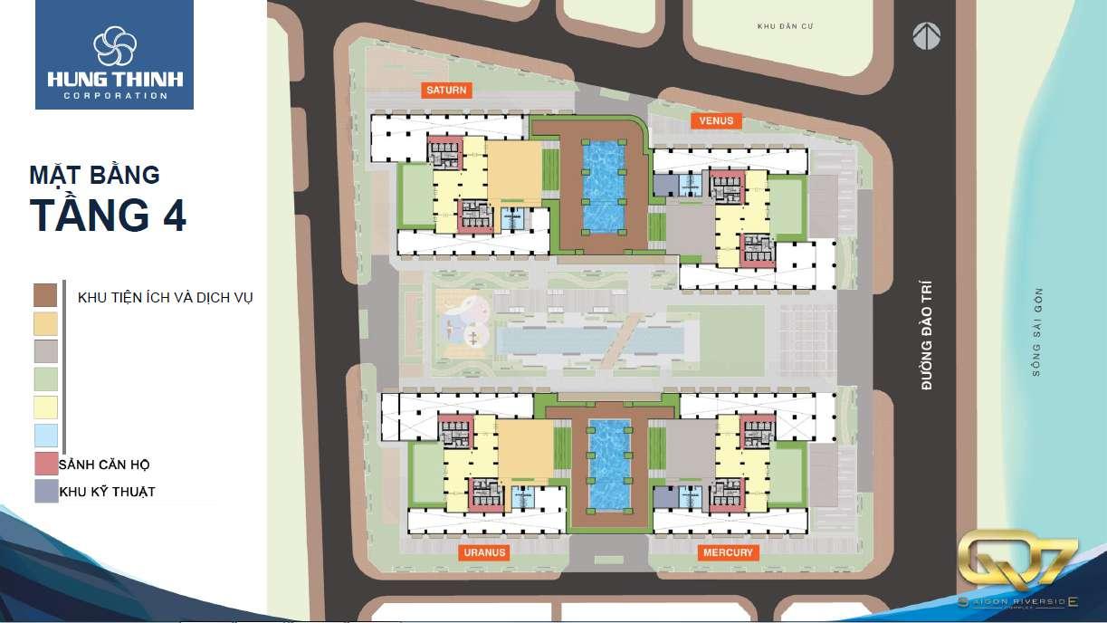 Mặt bằng tổng thể tầng 4 Q7 SaiGon Riverside Complex