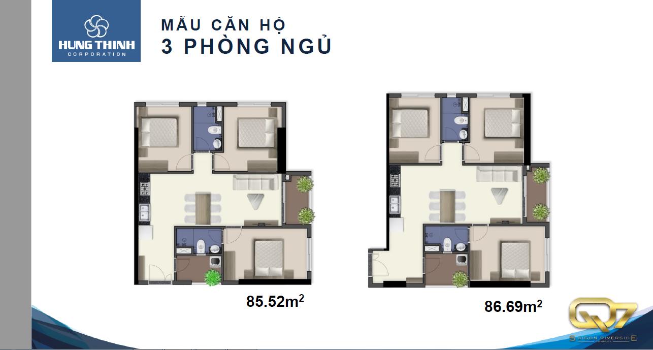 Thiết kế căn hộ 3 phòng ngủ Q7 SaiGon Riverside Complex