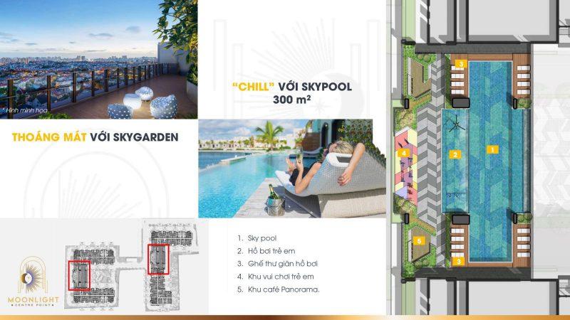 Thư giãn trong làn nước xanh mát với 2 hồ bơi tràn bờ SkyPool tại tầng 5 tổng diện tích 600m2