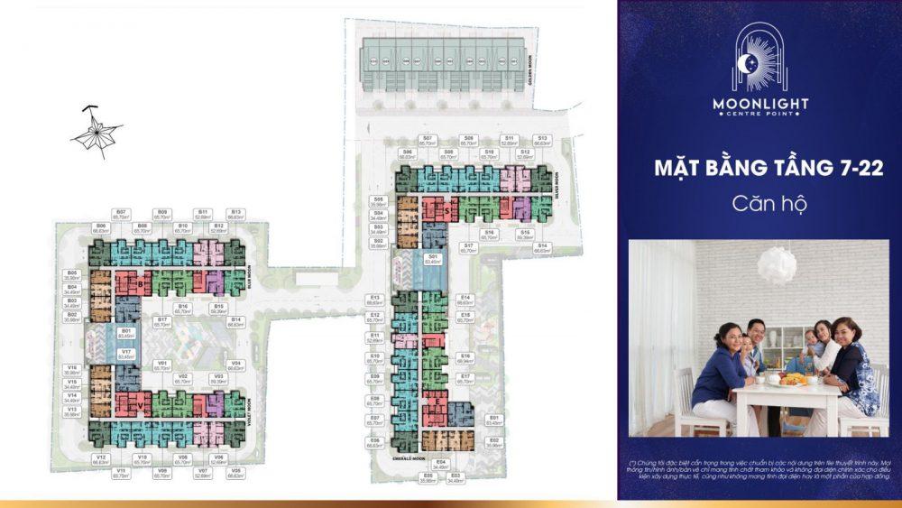 Mặt bằng điển hình tầng 7 đến tầng 22 căn hộ