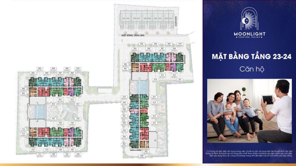 Mặt bằng điển hình tầng 23 và 24 căn hộ