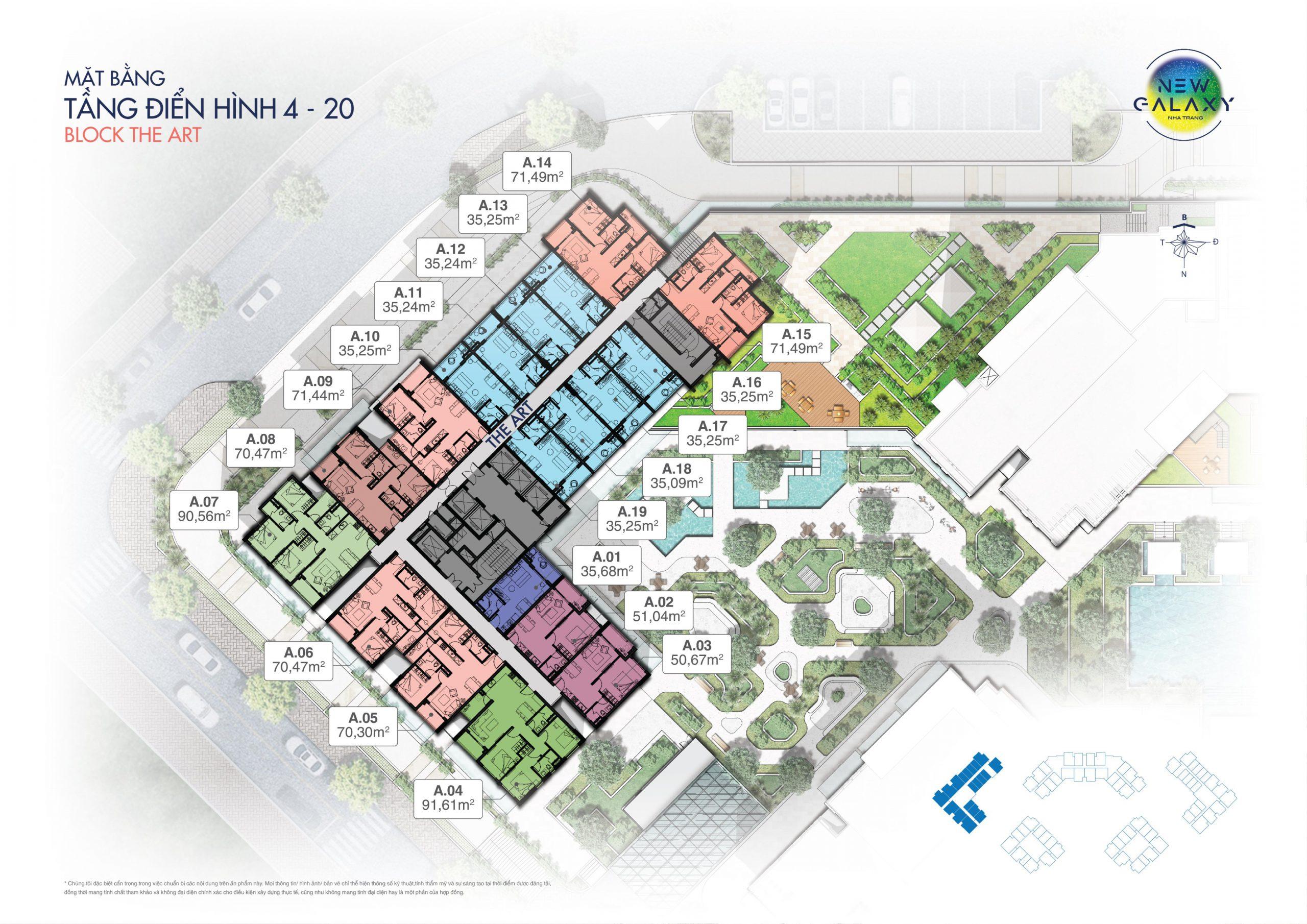 Mặt bằng tầng điển hình căn hộ tầng 4-20 block The Art