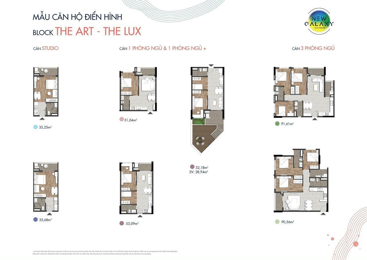 Thiết kế căn studio, 1,2 và 3 phòng ngủ