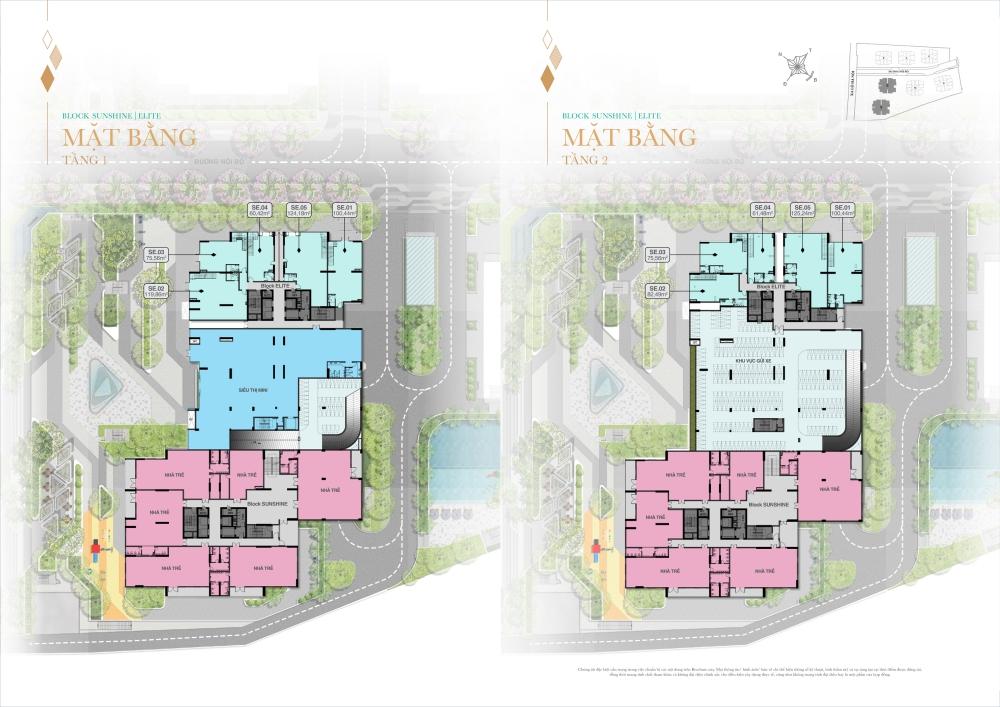 Mặt bằng tổng thể tầng 1 và 2 Block Shunshine và Elite dự án Biên Hoà Universe Complex