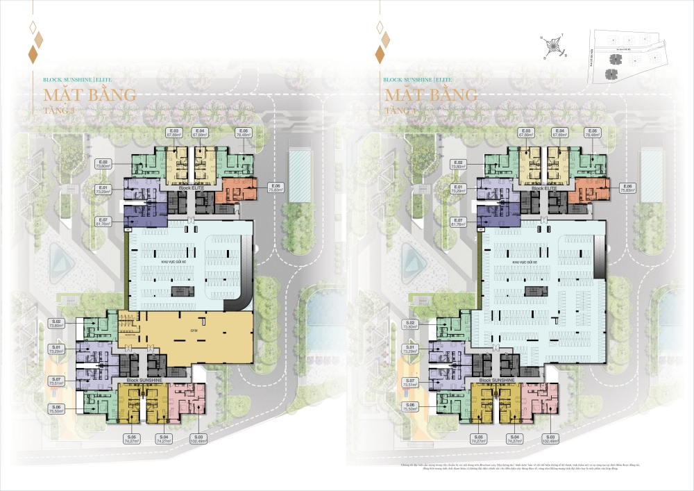 Mặt bằng tổng thể tầng 3 và 4 Block Shunshine và Elite dự án Biên Hoà Universe Complex