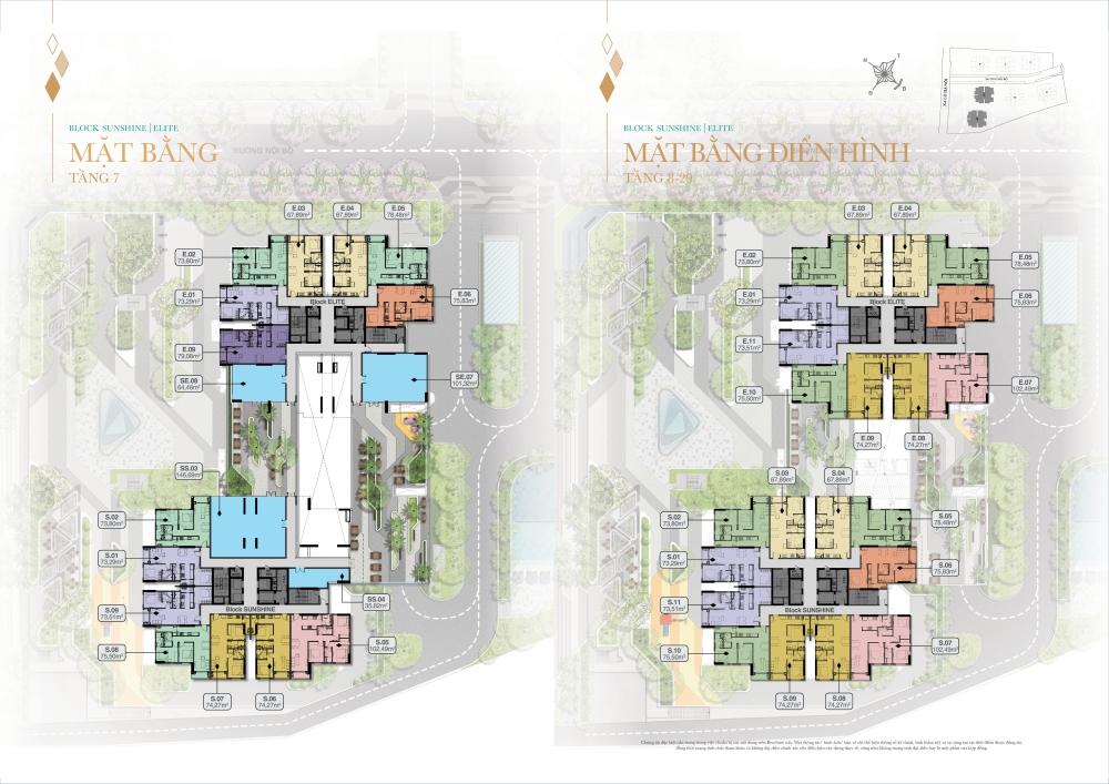Mặt bằng tổng thể tầng 7 đến 29 Block Shunshine và Elite dự án Biên Hoà Universe Complex