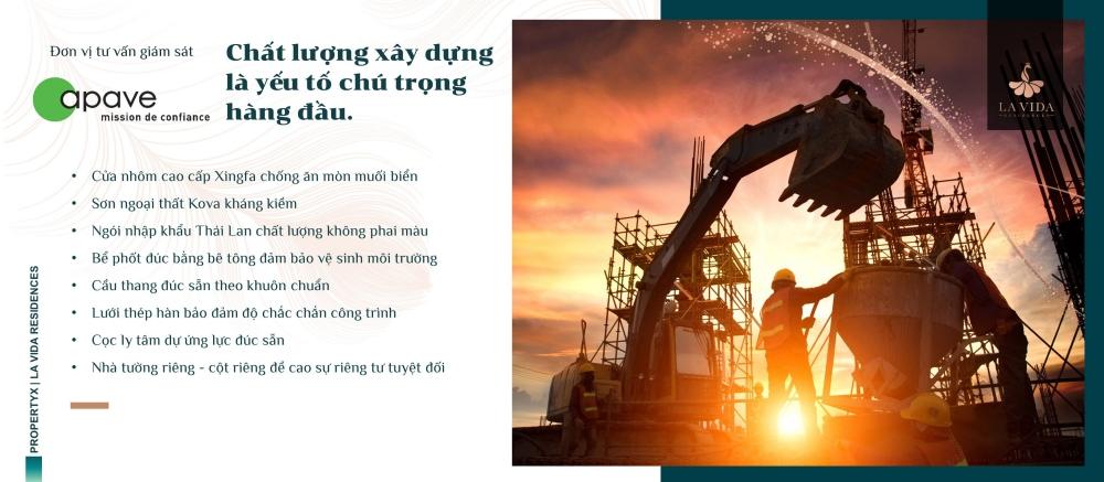 Chất lượng xây dựng cao cấp dự án La Vida Residences Vũng Tàu Hưng Thịnh