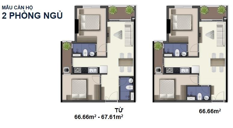 Thiết kế căn hộ 2 phòng ngủ Q7 SaiGon Riverside Complex