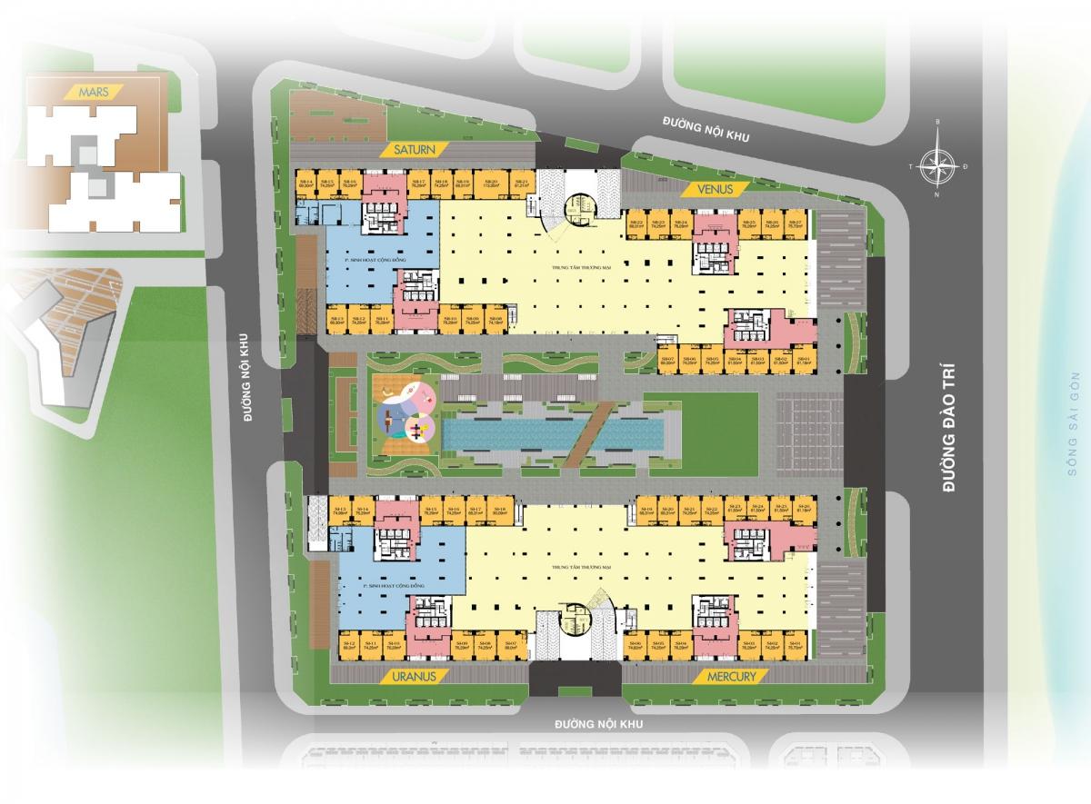 Mặt bằng tổng thể tầng 1 Q7 SaiGon Riverside Complex